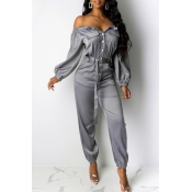 Lovely Casual Buttons Design Grey One-piece Jumpsuit