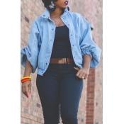 Lovely Trendy Turndown Collar Buttons Design Blue