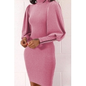 Lovely Casual Lantern Sleeve Pink Mini Dress