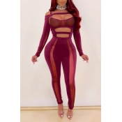 Lovely Sexy Hollow-out Wine Red One-piece Jumpsuit