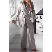 Lovely Temperament Asymmetrical Grey One-piece Jum