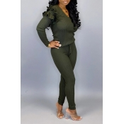 Lovely Casual Flounce Design Army Green Two-piece