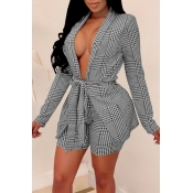 Lovely Casual Deep V Neck Plaid Printed Grey Two-p