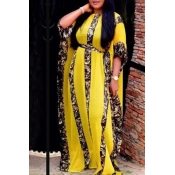 Lovely Casual Loose Yellow Plus Size Two-piece Skirt Set(With Lining)
