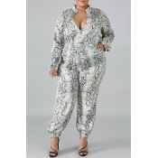 Lovely Trendy Printed Grey Plus Size One-piece Jum