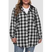 Lovely Casual Hooded Collar Plaid Printed Black Pl
