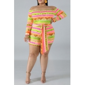 Lovely Casual Striped Printed Multicolor Plus Size