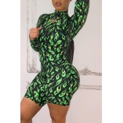 Lovely Casual Printed Green One-piece Romper