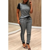 Lovely Casual O Neck Patchwork Grey Two-piece Pant