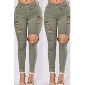 Lovely Leisure Hollow-out Army Green Jeans