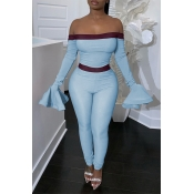 Lovely Trendy Dew Shoulder Flounce Blue One-piece