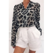 Lovely Work Leopard Printed Grey Blouse
