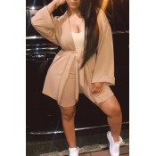 Lovely Casual Lace-up Caramel Color Two-piece Shor