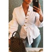 Lovely Trendy Buttons Design White Blouse
