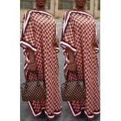 Lovely Casual Printed Red Floor Length Plus Size Dress
