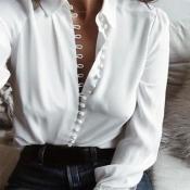 Lovely Trendy Turndown Collar Buttons Design White