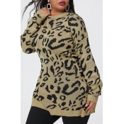 Lovely Casual Patchwork Khaki Plus Size Sweater