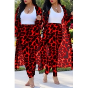 Lovely Casual Leopard Printed Red Plus Size Two-pi