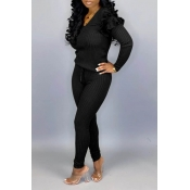 Lovely Casual Flounce Design Black Two-piece Pants Set