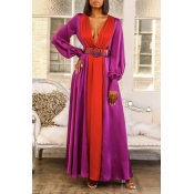 Lovely Casual Deep V Neck Loose Red Floor Length D
