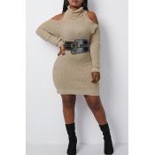Lovely Casual Cold Shoulder Khaki Mini Dress