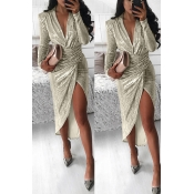 Lovely Trendy V Neck Ruffle Design Gold Ankle Leng