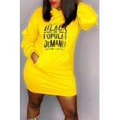 Lovely Casual Hooded Collar Letter Printed Yellow