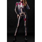 Lovely Cosplay Skull Printed Black One-piece Jumps