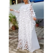Lovely Casual Embroidery Design White Floor Length Plus Size Dress