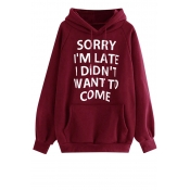 Lovely Casual Letter Printed Wine Red Sweatshirt H