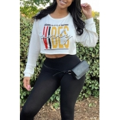 Lovely Casual Letter Printed White Sweatshirt Hood