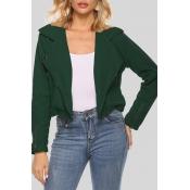 Lovely Casual Zipper Design Blackish Green Short C