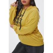 Lovely Casual Letter Printed Yellow Plus Size Hood