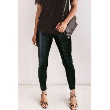 Lovely High Waist Zipper Design Black Legging
