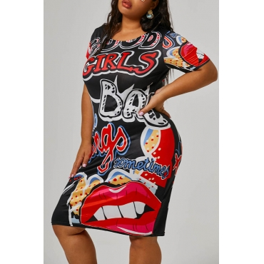 Lovely Casual Printed Black Knee Length Plus Size Dress