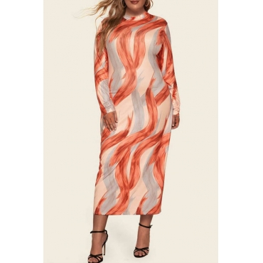 Lovely Casual Half A Turtleneck Printed Multicolor Mid Calf Plus Size Dress