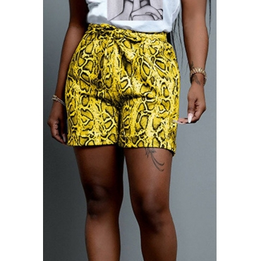 Lovely Casual Printed Lace-up Yellow Shorts