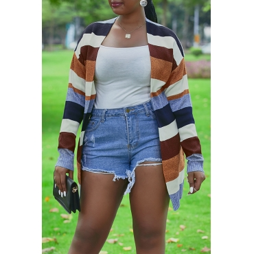 Lovely Casual Striped Long Multicolor Knitting Cardigan