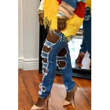 Lovely Street Broken Holes Blue Jeans