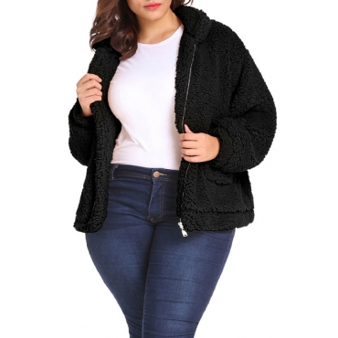 Lovely Casual Turndown Collar Zipper Design Black Plus Size Coat
