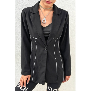 Lovely Casual Patchwork Black Blazer