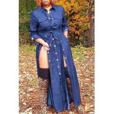 Lovely Trendy Turndown Collar Buttons Design Blue Ankle Length Dress