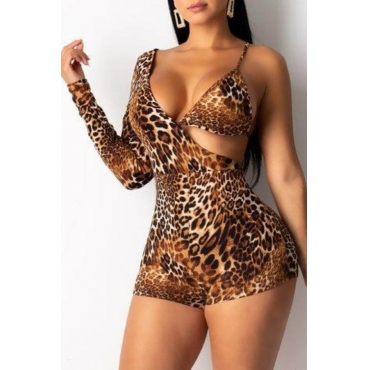 Lovely Sexy Hollow-out Leopard Printed One-piece Romper