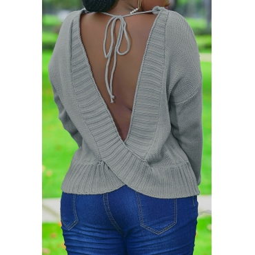 Lovely Trendy Backless Grey Sweater