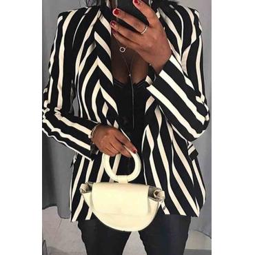 Lovely Casual Striped Black Blazer