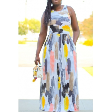 Lovely Trendy Sleeveless Printed White Floor Length Plus Size Dress
