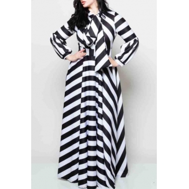 Lovely Casual Ribbon Collar Printed Black Floor Length Plus Size Dress