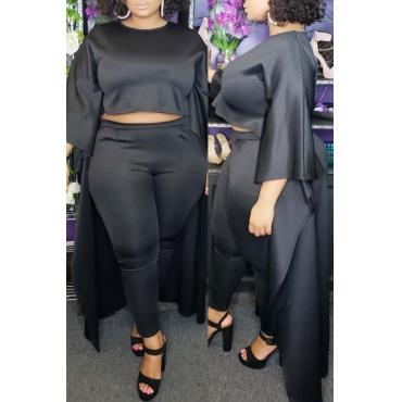 Lovely Trendy O Neck Asymmetrical Black Plus Size Two-Piece Pants Set
