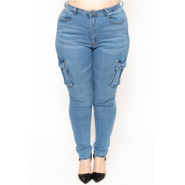 Lovely Casual Pocket Patched Baby Blue Plus Size Jeans