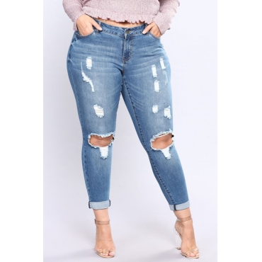 Lovely Casual Hollow-out Skinny Blue Plus Size Jeans